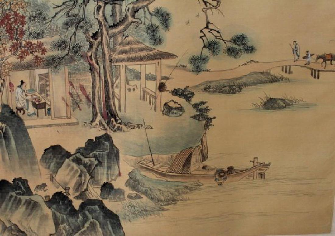 Chinese Water Color Painted On Silk Scroll - 6