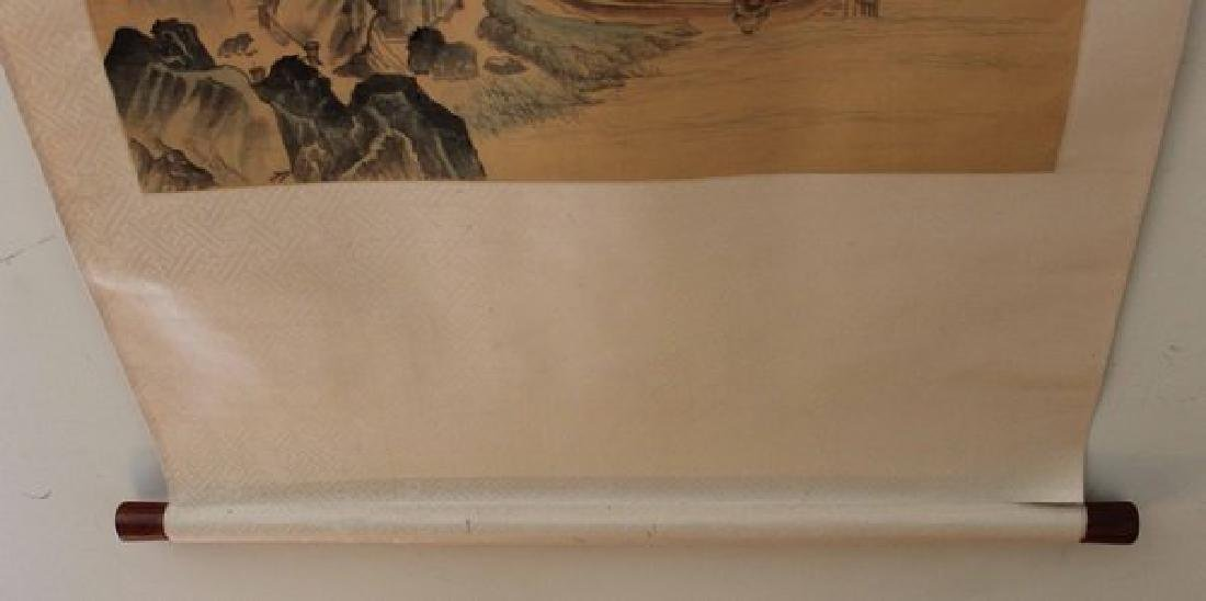 Chinese Water Color Painted On Silk Scroll - 7