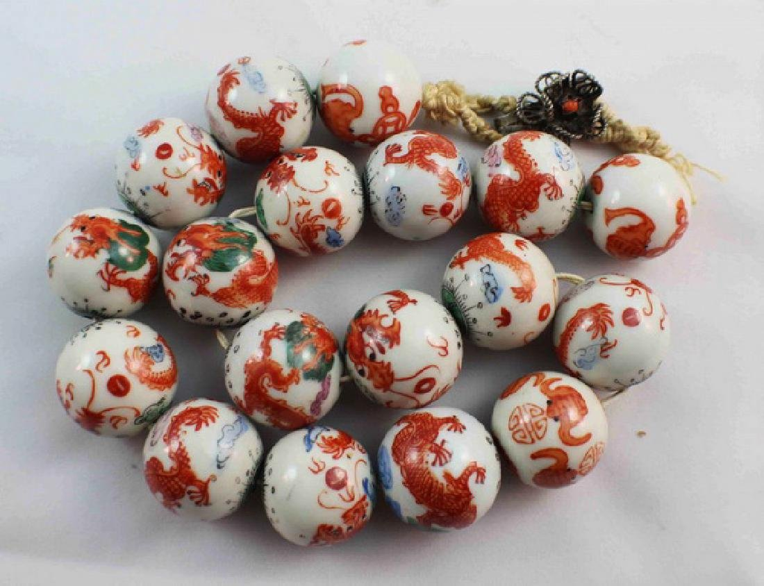 Antique Chinese Porcelain Bead Necklace