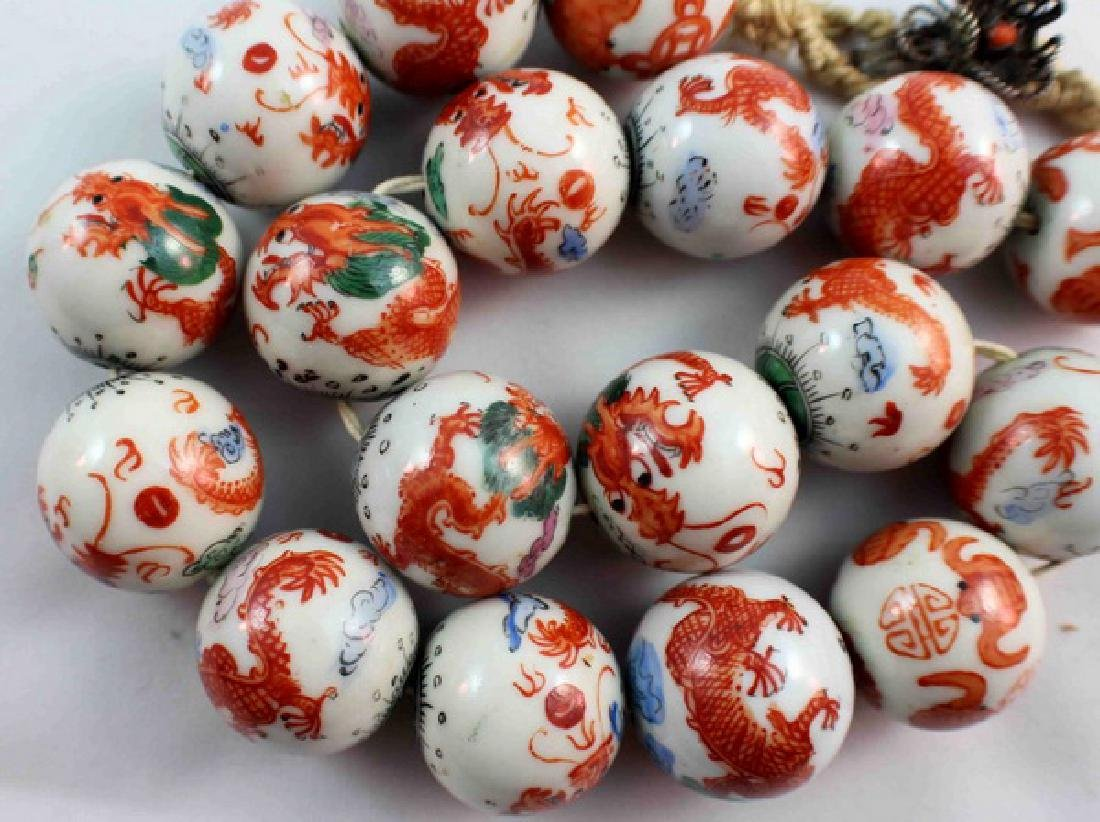 Antique Chinese Porcelain Bead Necklace - 4