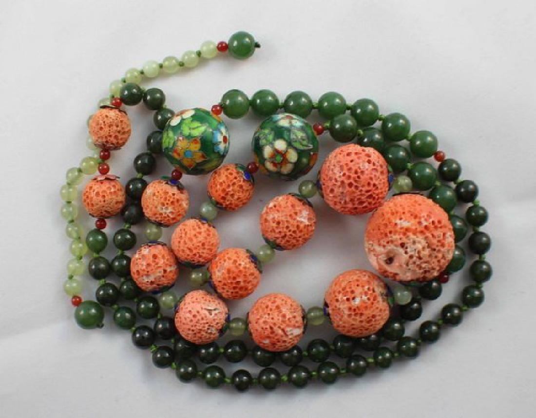 Chinese Carved Coral & Jade Bead Necklace