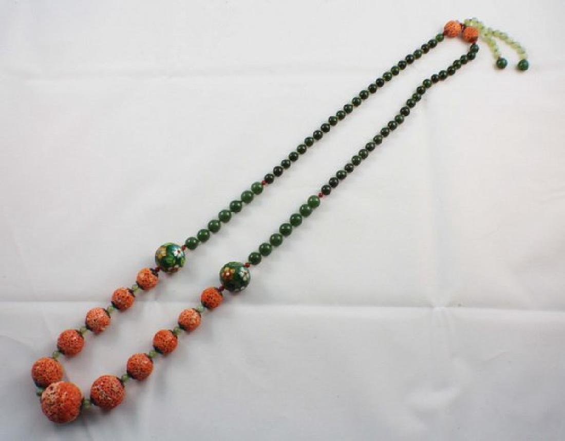 Chinese Carved Coral & Jade Bead Necklace - 2