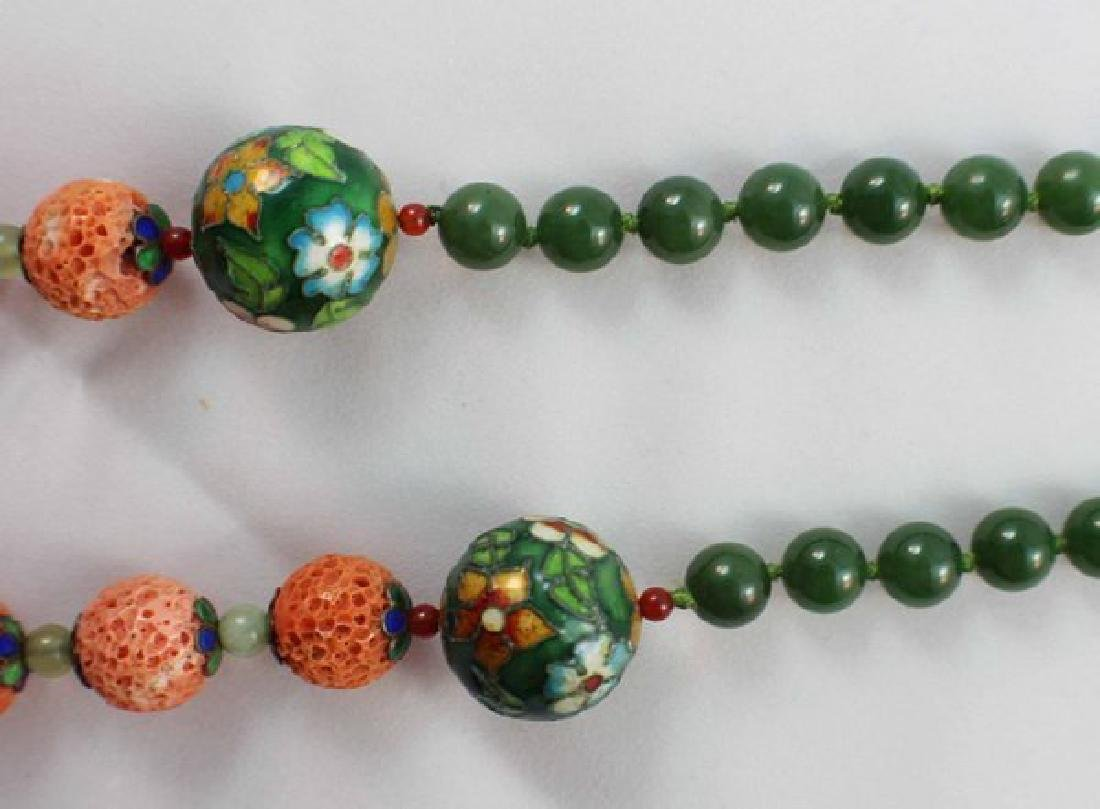 Chinese Carved Coral & Jade Bead Necklace - 4