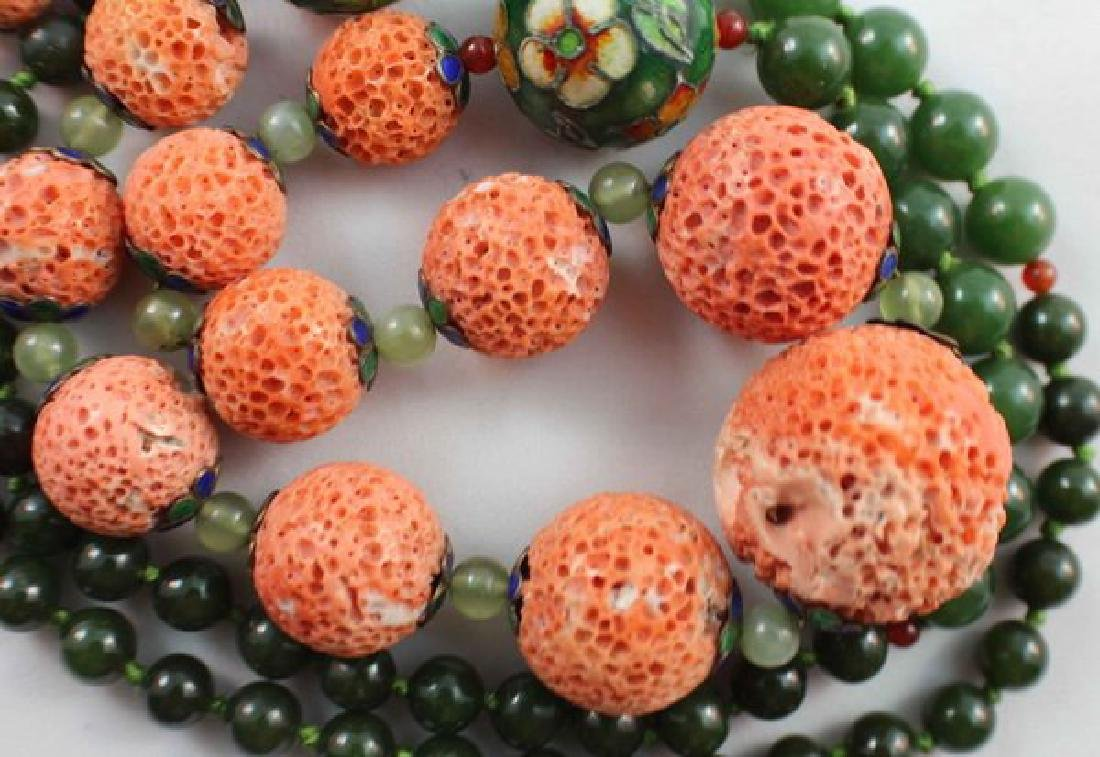 Chinese Carved Coral & Jade Bead Necklace - 6