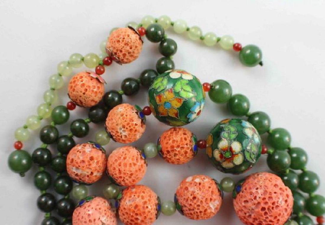 Chinese Carved Coral & Jade Bead Necklace - 7