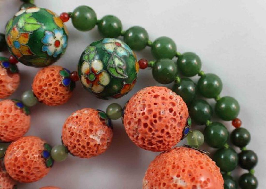 Chinese Carved Coral & Jade Bead Necklace - 8