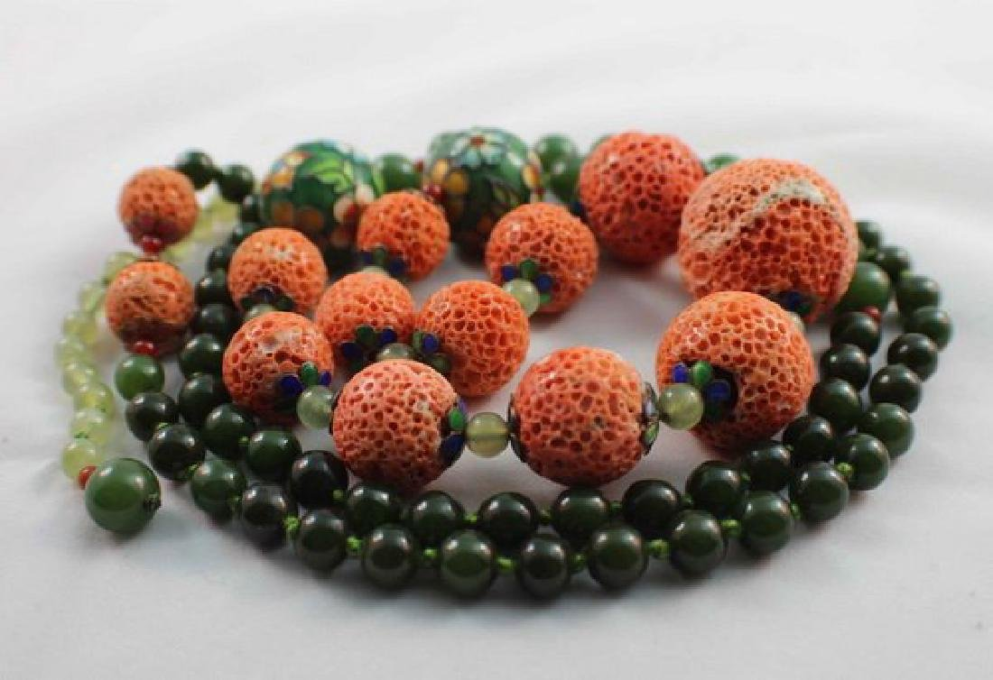 Chinese Carved Coral & Jade Bead Necklace - 9
