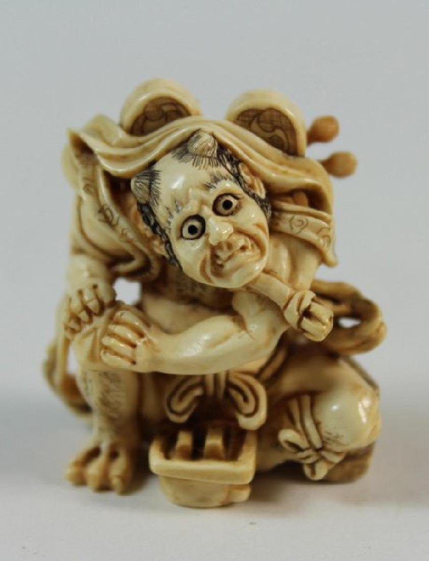 JAPANESE ANTIQUE 19TH C CARVED NETSUKE