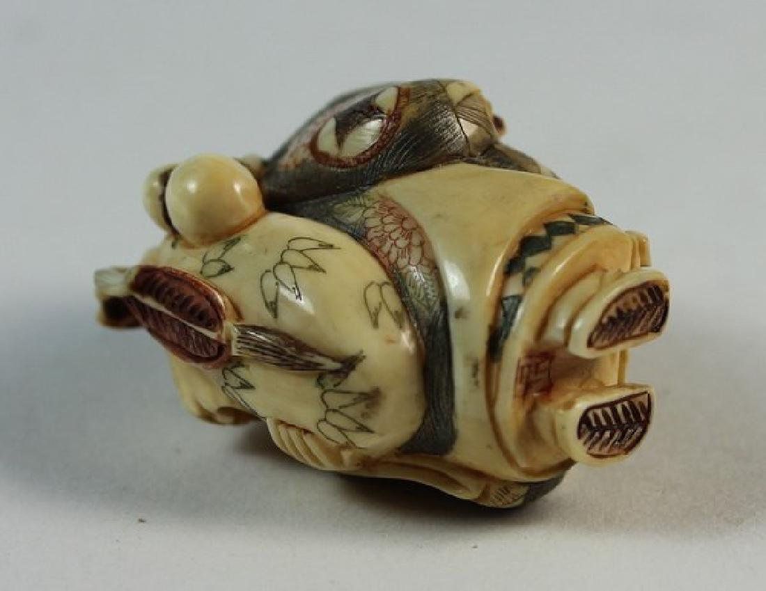 JAPANESE ANTIQUE 19TH C CARVED NETSUKE - 8