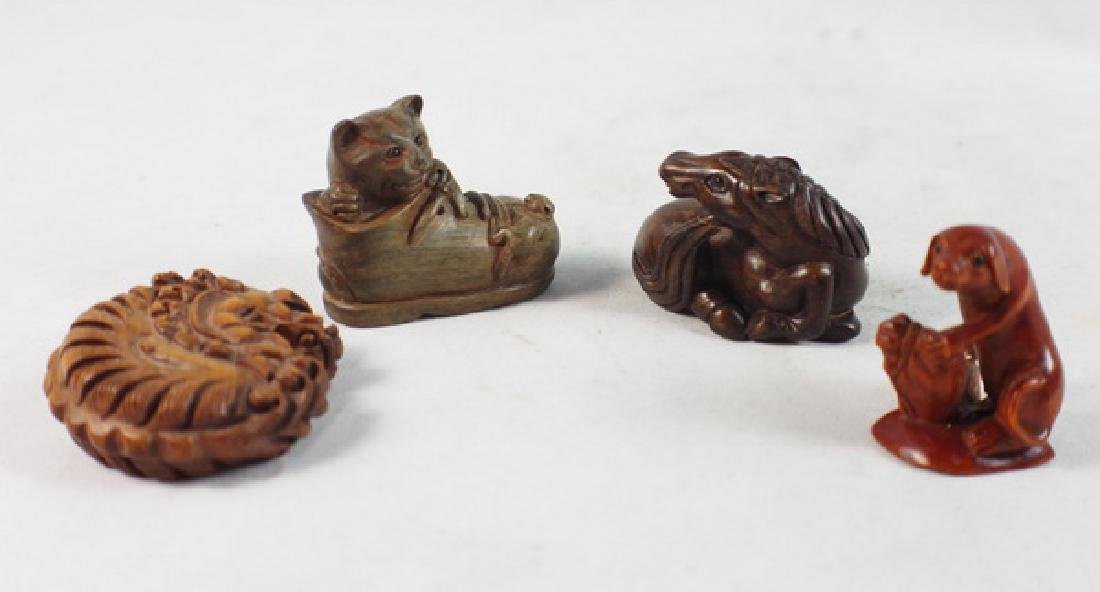 GROUP OF 4 JAPANESE ANTIQUE 19TH C CARVED NETSUKES