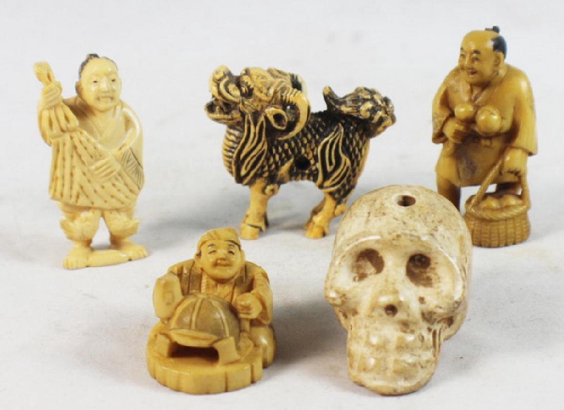 GROUP OF 5 JAPANESE ANTIQUE 19TH C CARVED NETSUKES