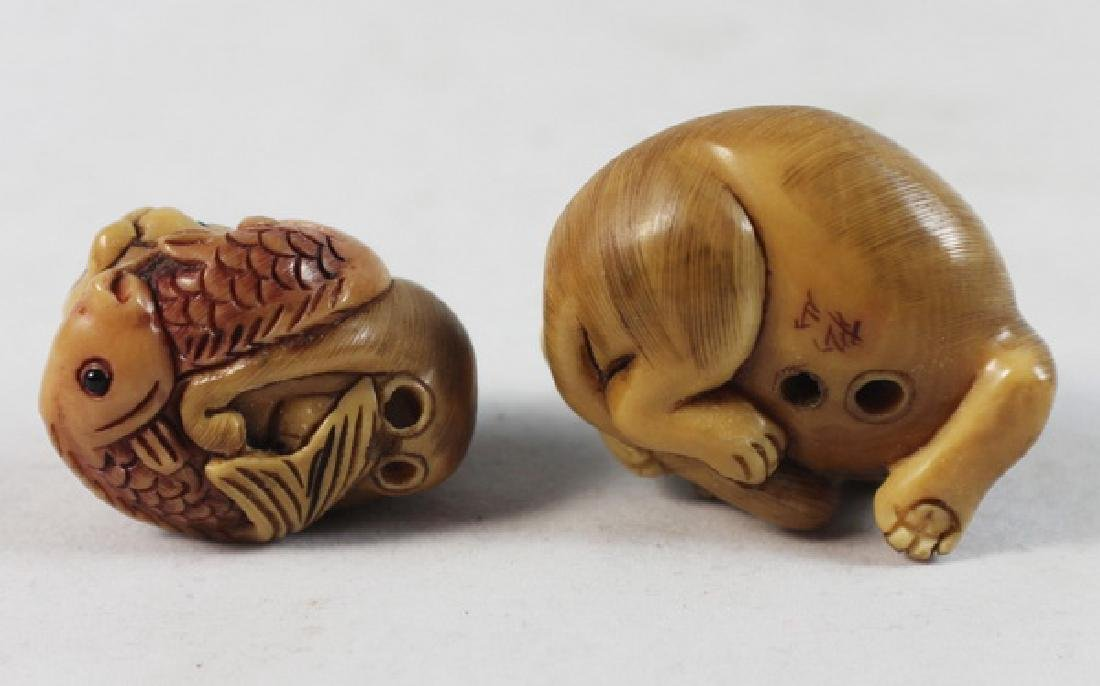 LOT OF 3 JAPANESE ANTIQUE 19TH C CARVED NETSUKES - 5