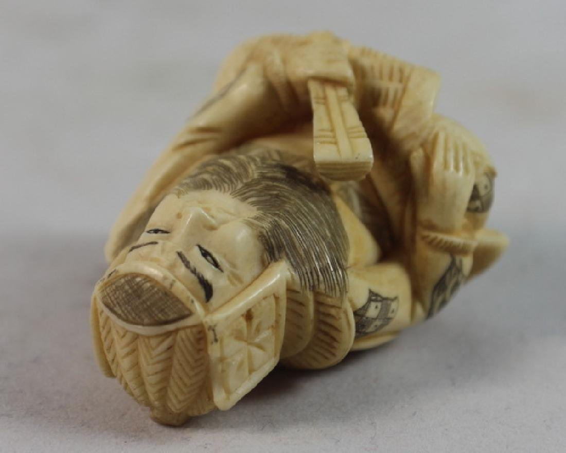 JAPANESE ANTIQUE 19TH C CARVED NETSUKE - 5