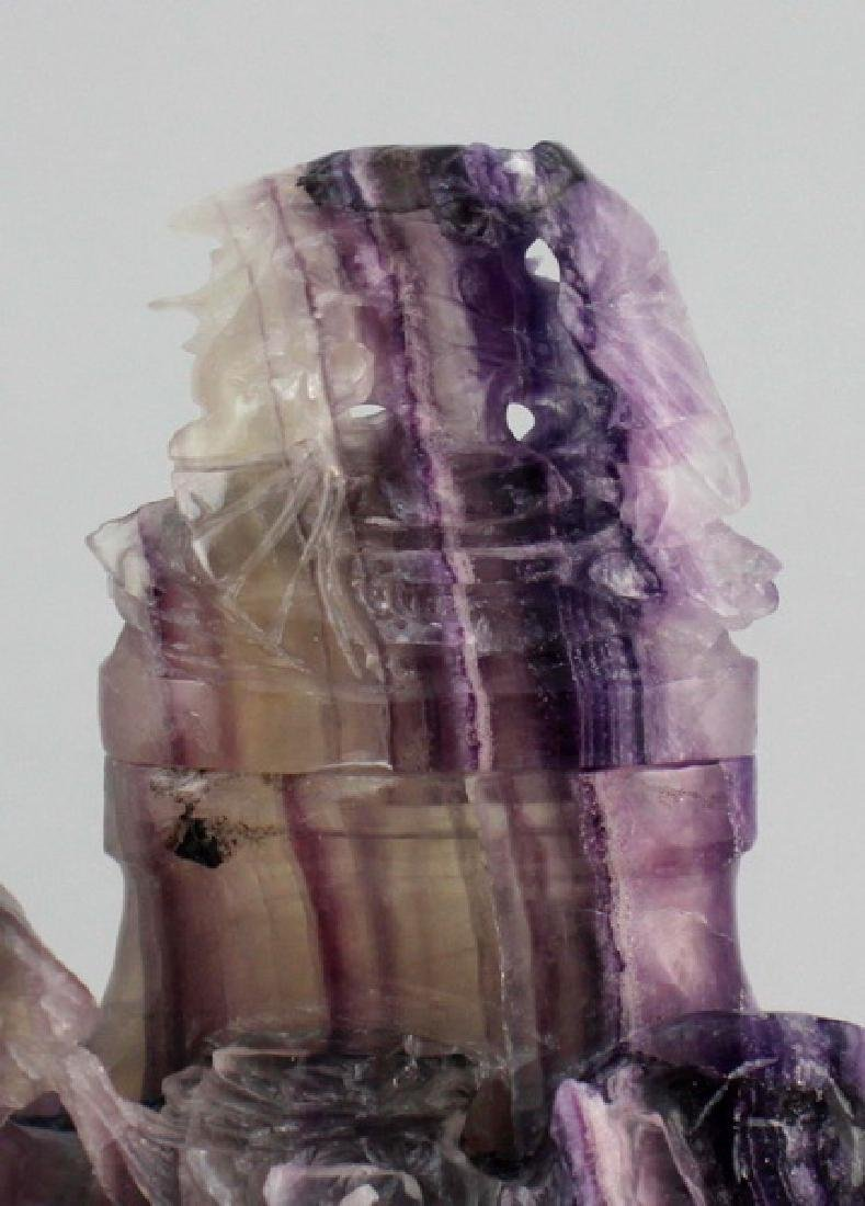 Chinese Carved Amethyst Vase - 4