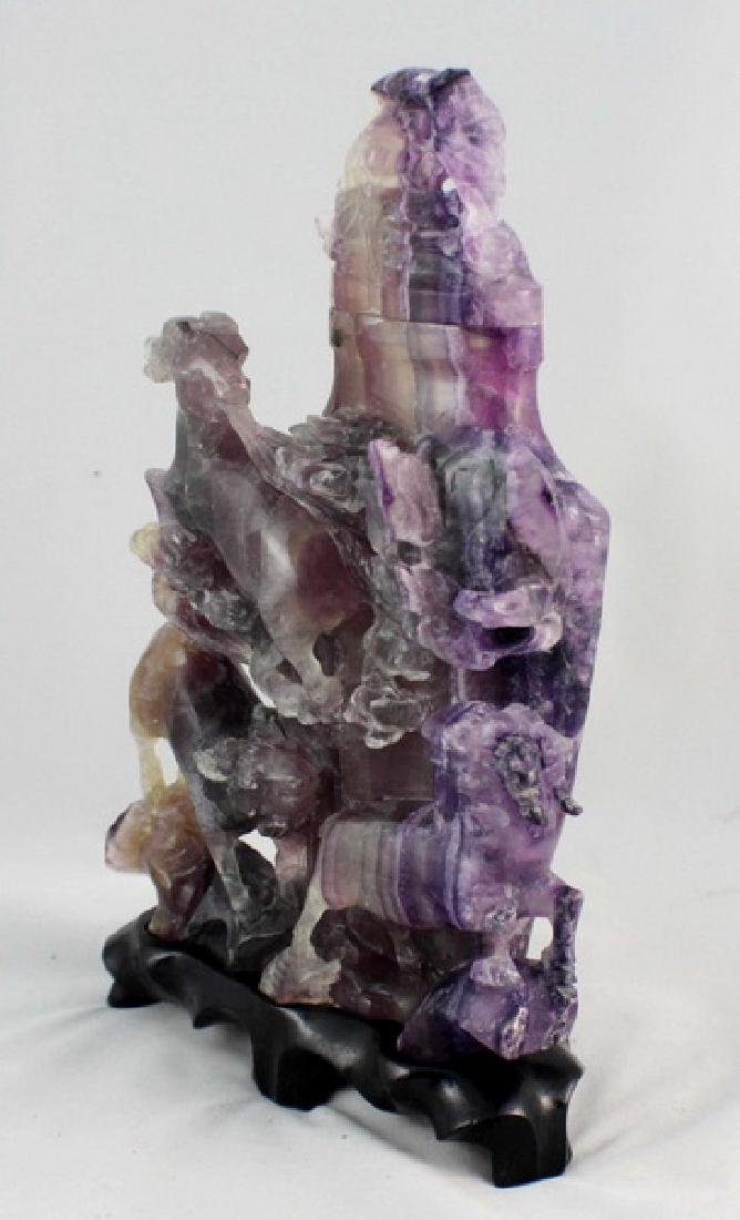 Chinese Carved Amethyst Vase - 6