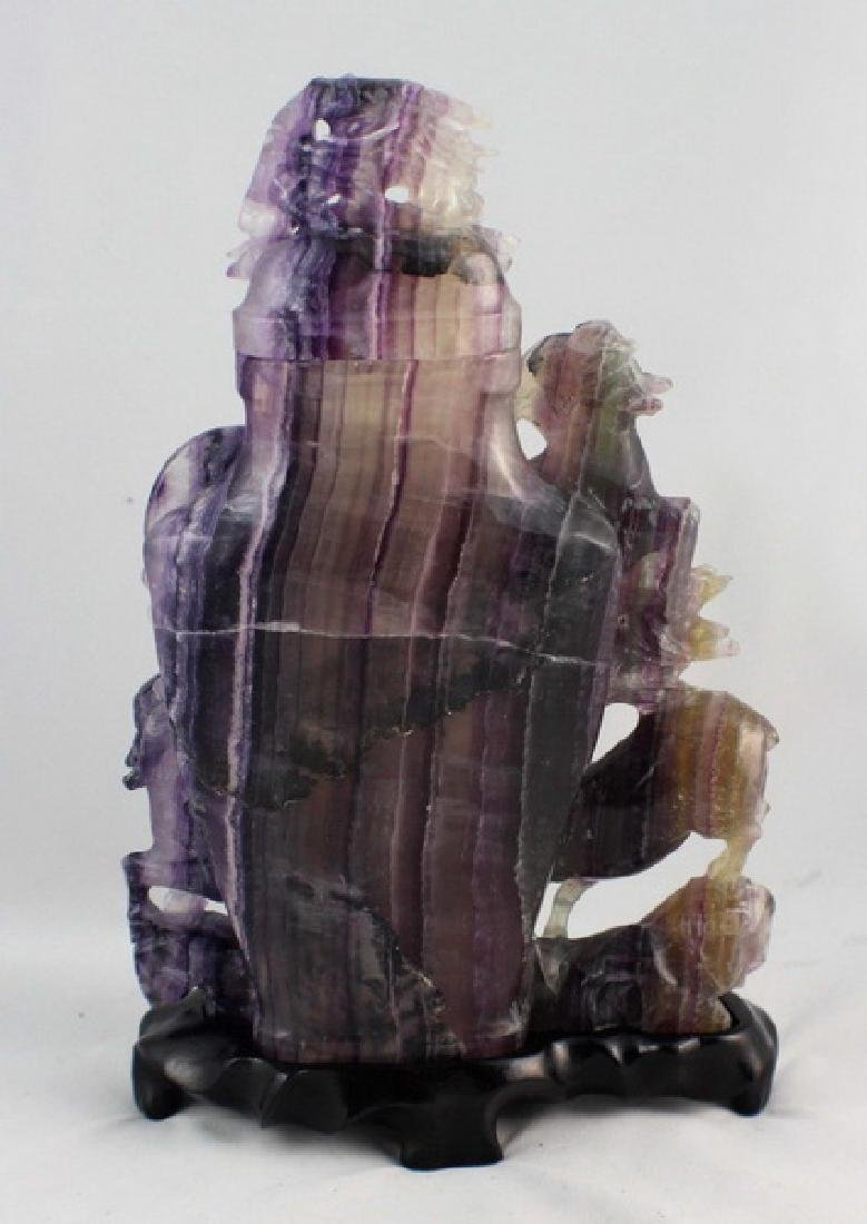 Chinese Carved Amethyst Vase - 7