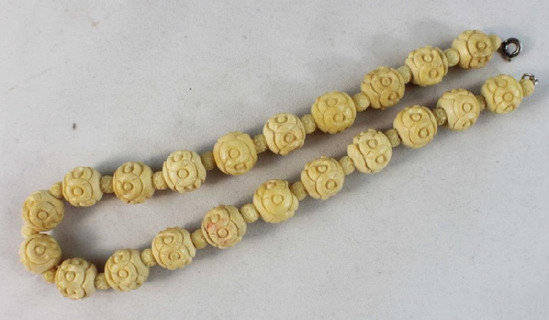 Chinese Carved Bone Bead Necklace - 2