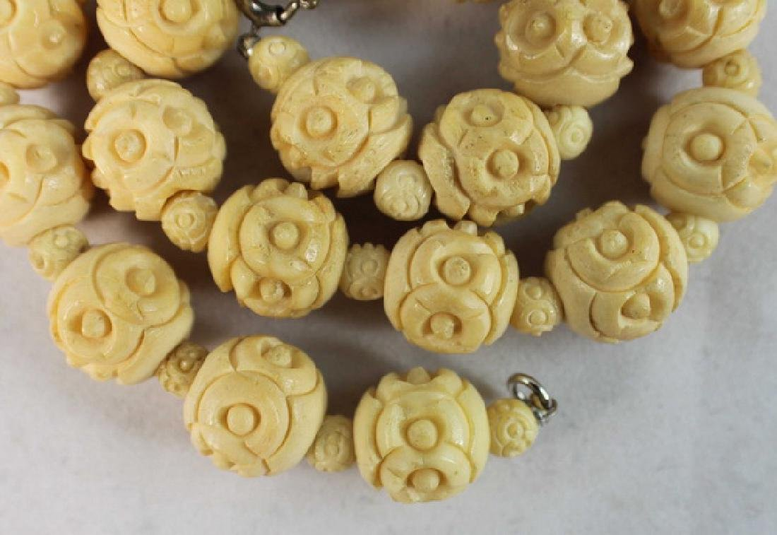 Chinese Carved Bone Bead Necklace - 3