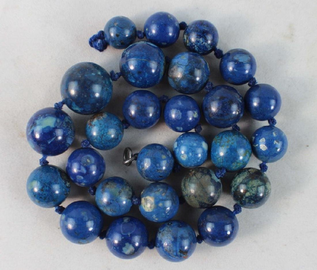 Chinese Carved Lapis Lazuli Bead Necklace