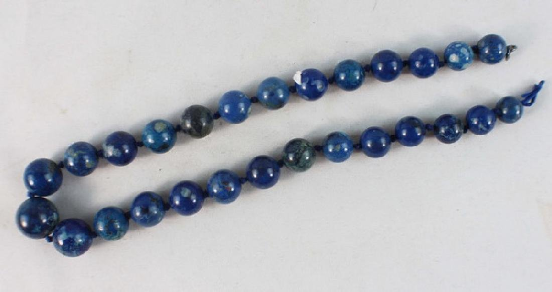 Chinese Carved Lapis Lazuli Bead Necklace - 2