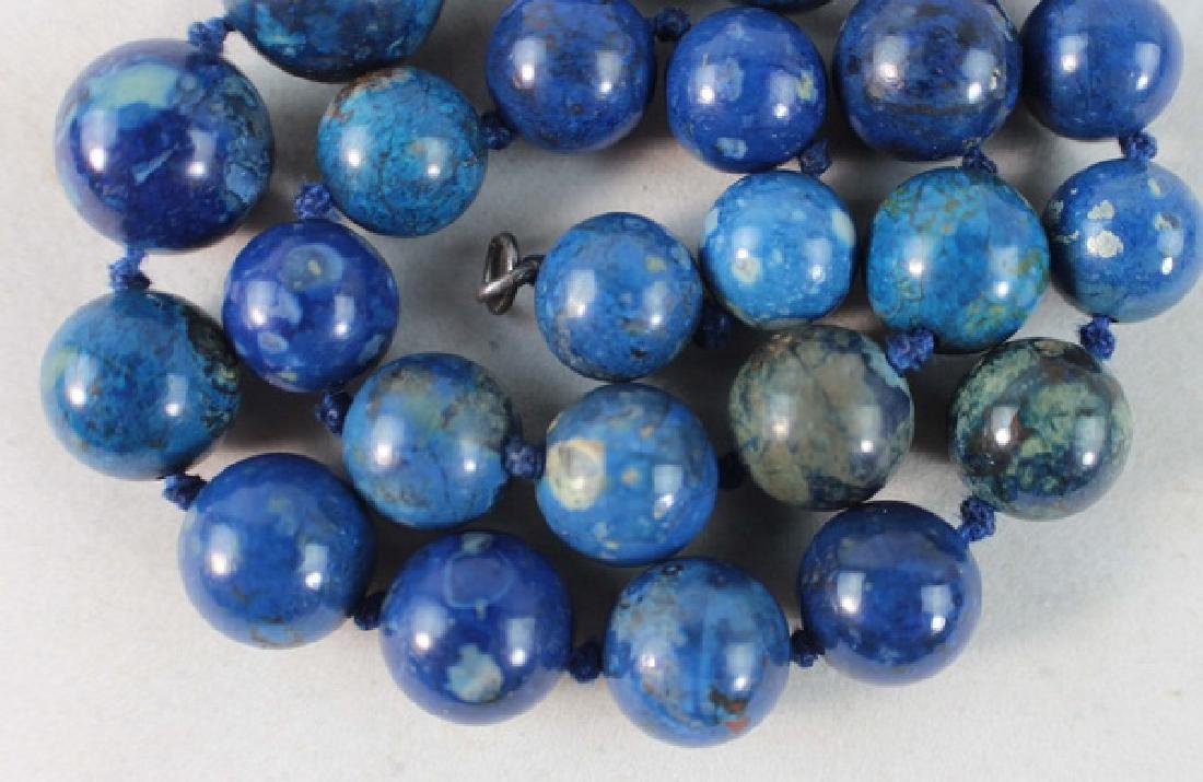 Chinese Carved Lapis Lazuli Bead Necklace - 3