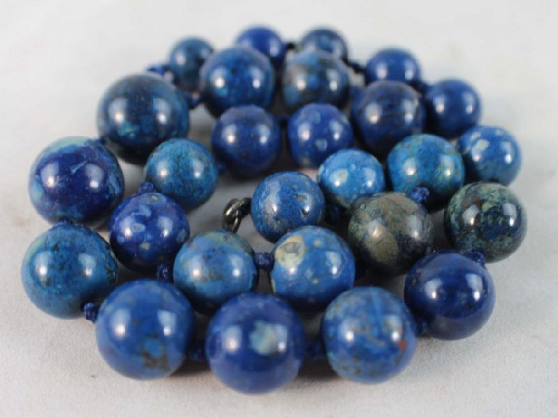 Chinese Carved Lapis Lazuli Bead Necklace - 4