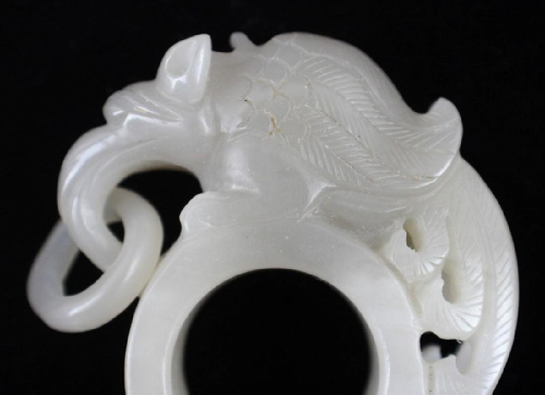 Chinese Carved White Jade Ring - 2