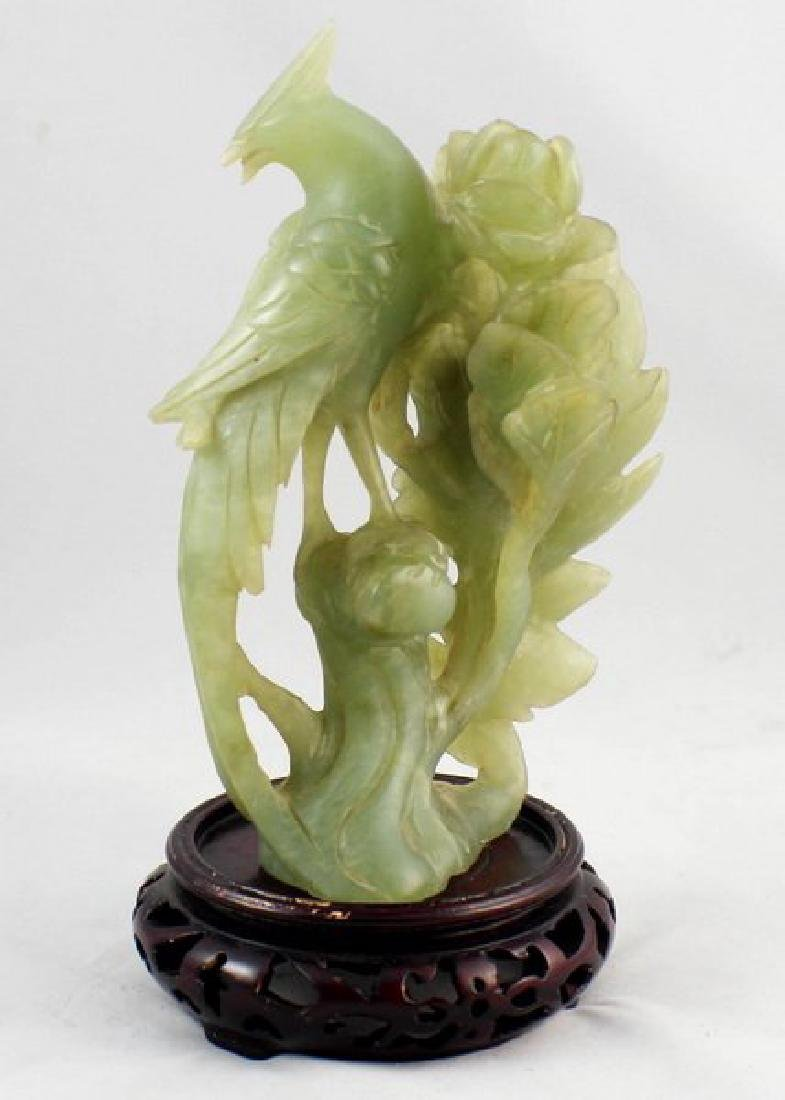 Chinese Carved Jade Bird W/Wood Stand