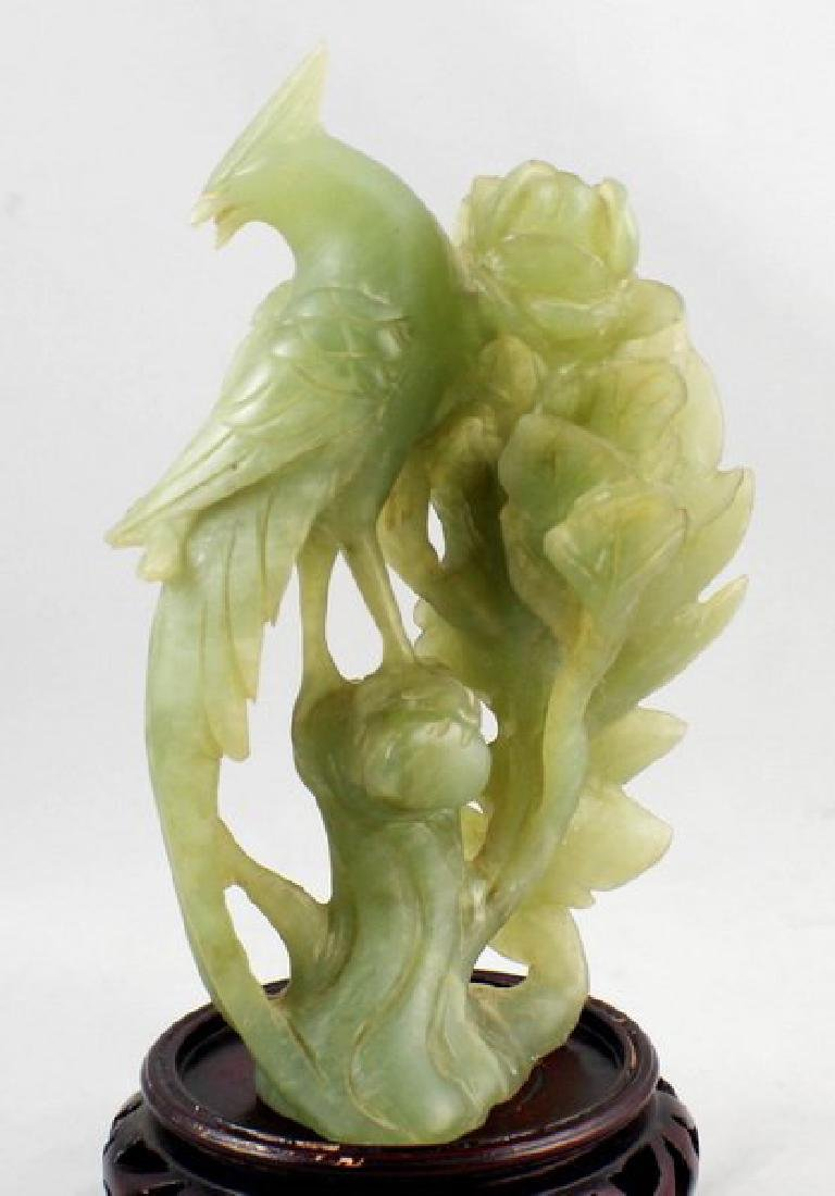 Chinese Carved Jade Bird W/Wood Stand - 2