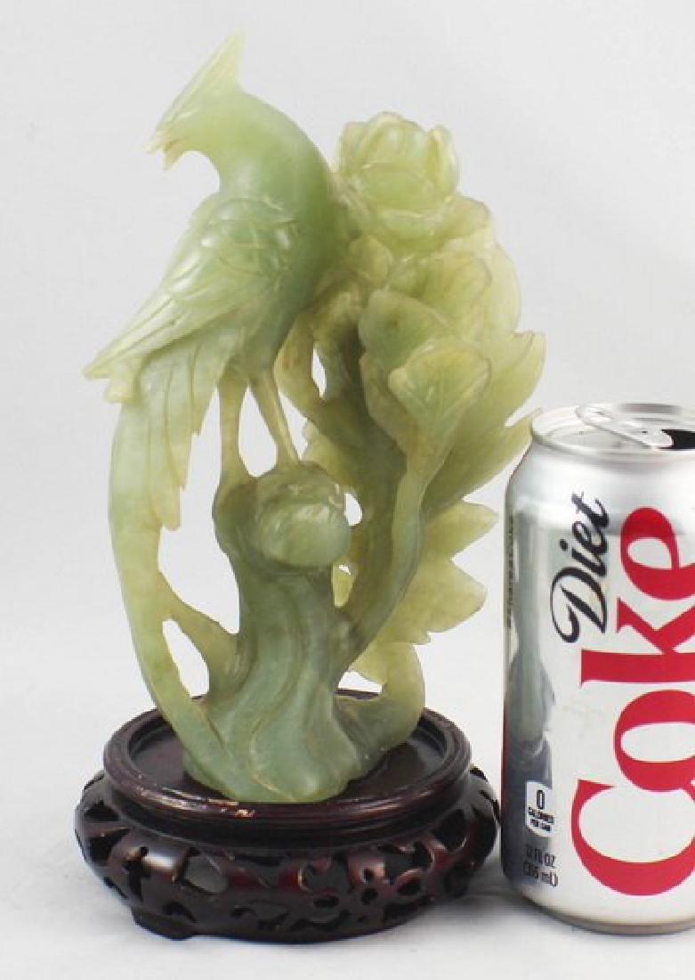 Chinese Carved Jade Bird W/Wood Stand - 3