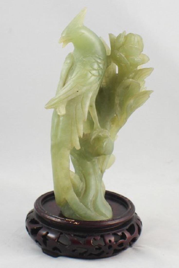 Chinese Carved Jade Bird W/Wood Stand - 4