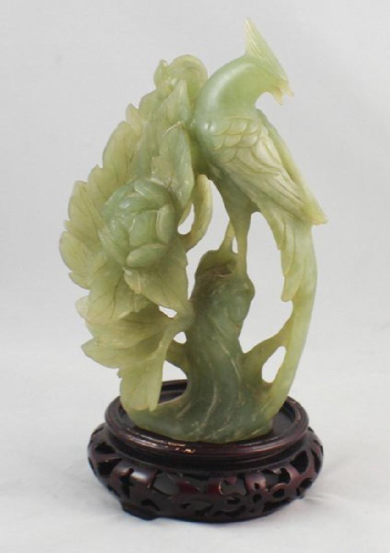 Chinese Carved Jade Bird W/Wood Stand - 5