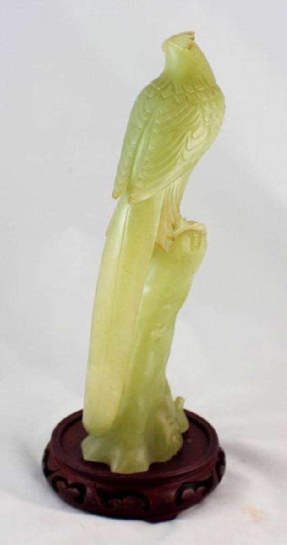 Chinese Carved Jade Bird W/Wood Stand - 6