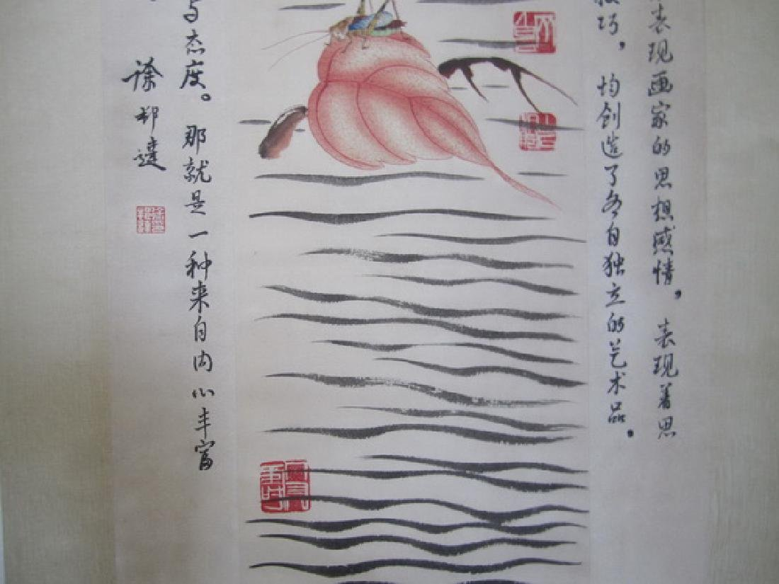Chinese Watercolor painting Scroll, signed - 6