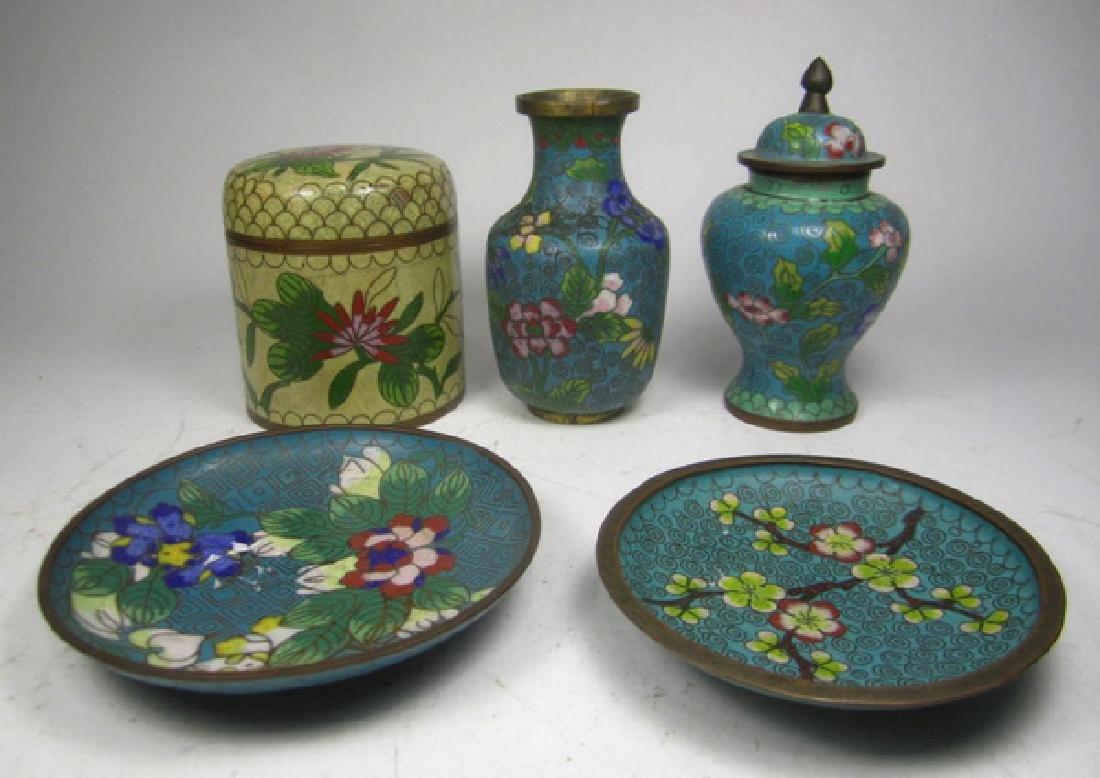 Five Old Cloisonne Items