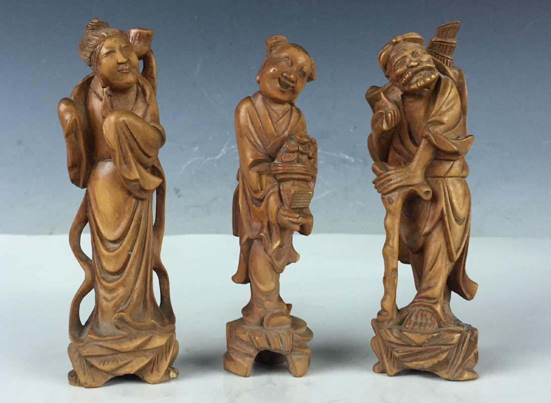 3x Vintage Detail Carved Boxwood Figures- BaXian