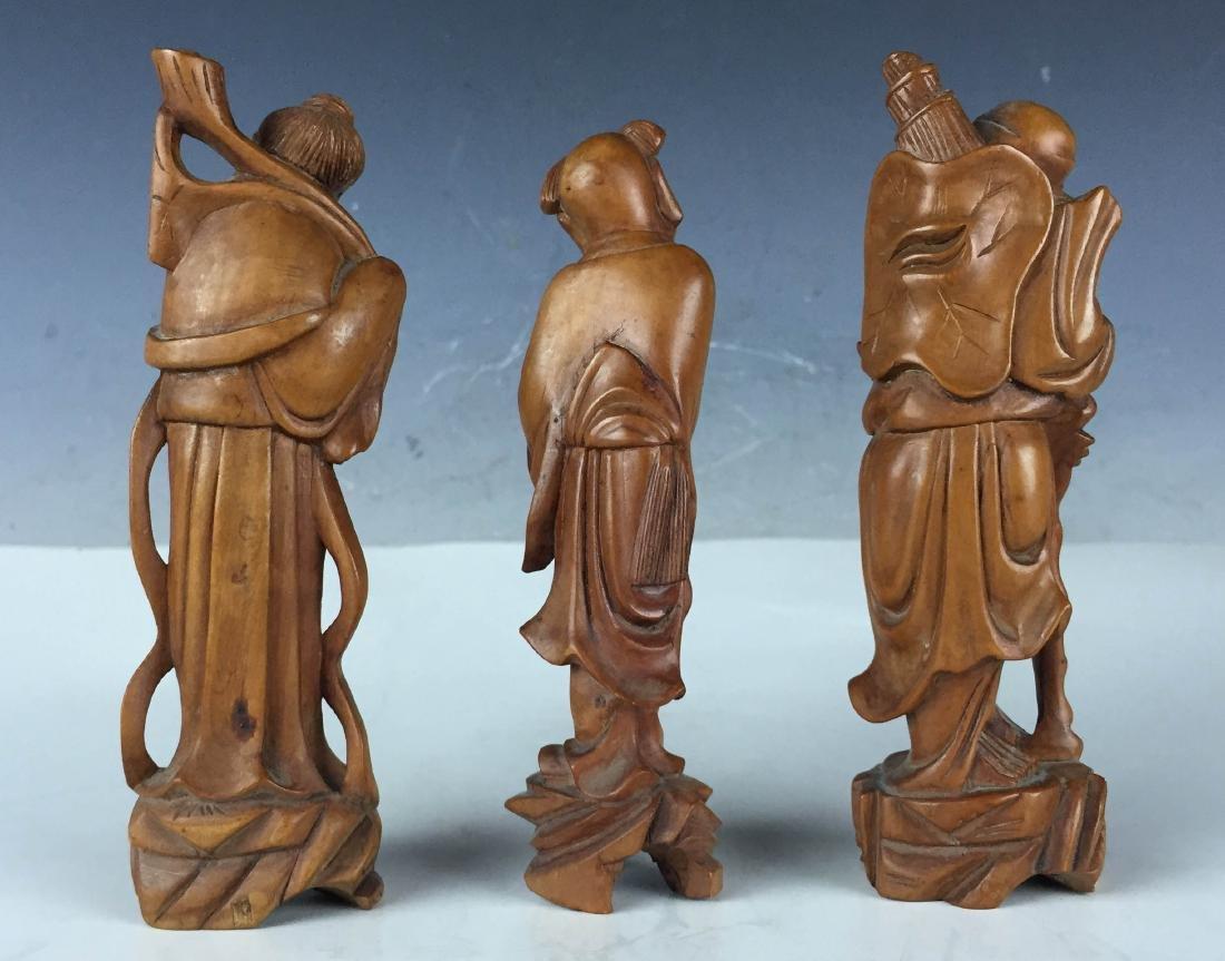 3x Vintage Detail Carved Boxwood Figures- BaXian - 2