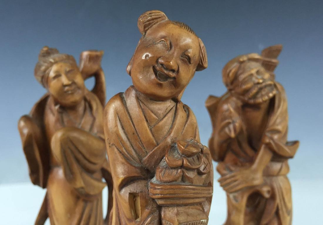 3x Vintage Detail Carved Boxwood Figures- BaXian - 4