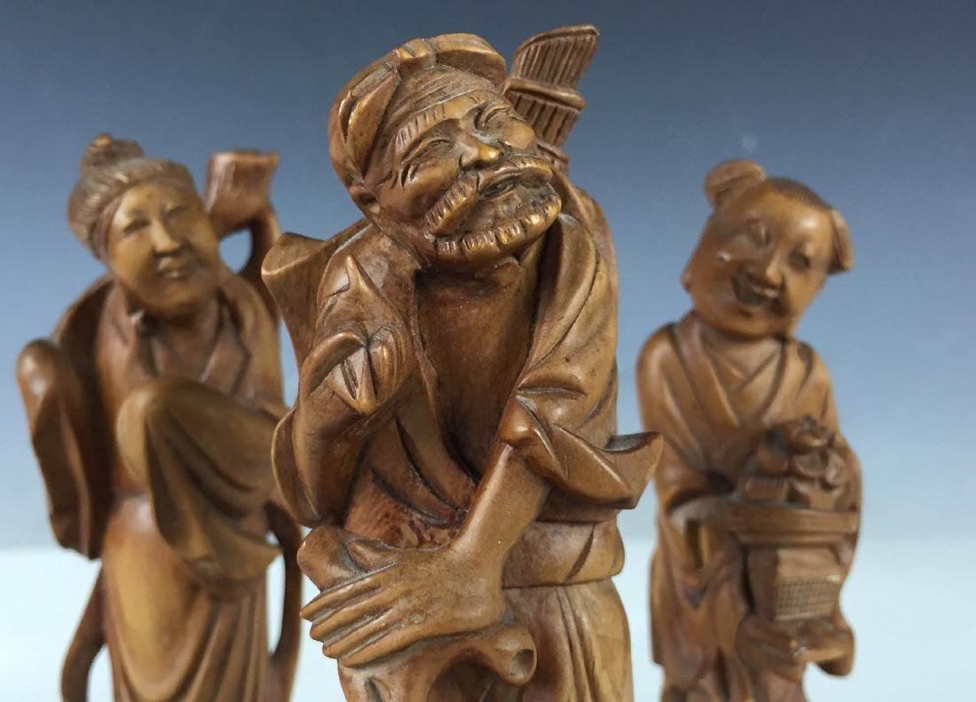 3x Vintage Detail Carved Boxwood Figures- BaXian - 5