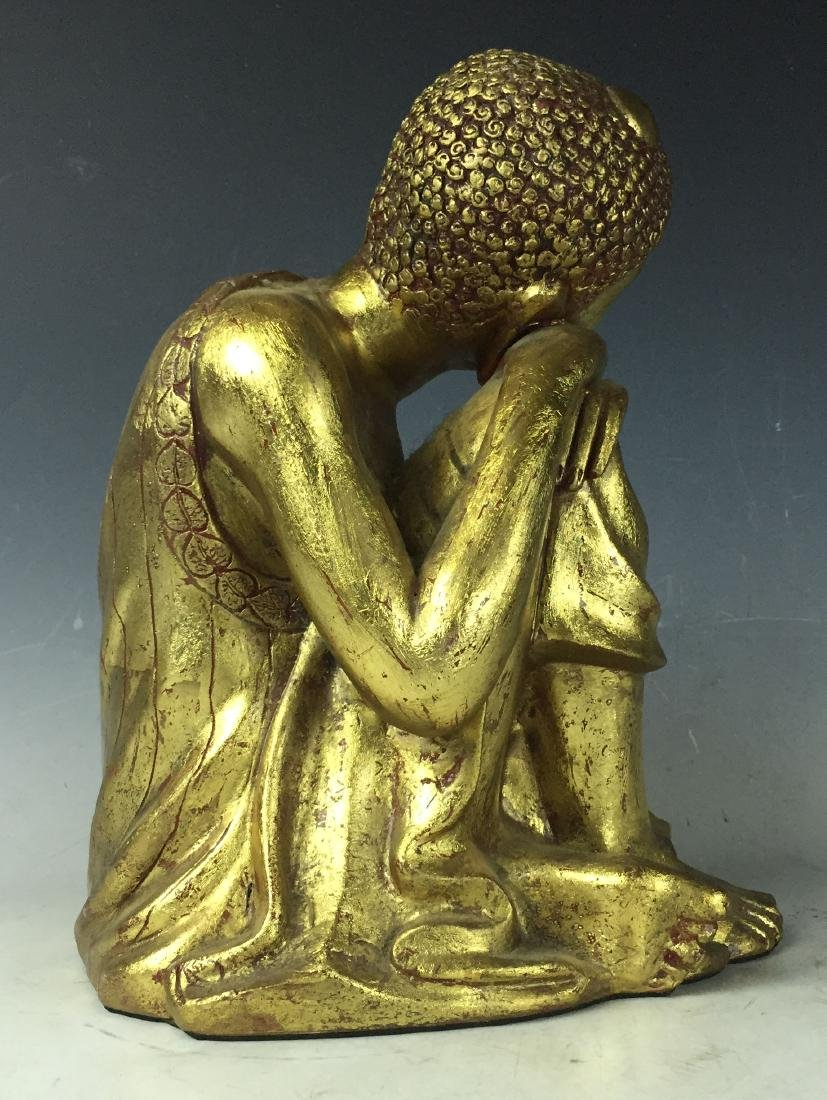 "12"" Vintage Gilt Carved Wooden Sleeping Sculpture - 6"