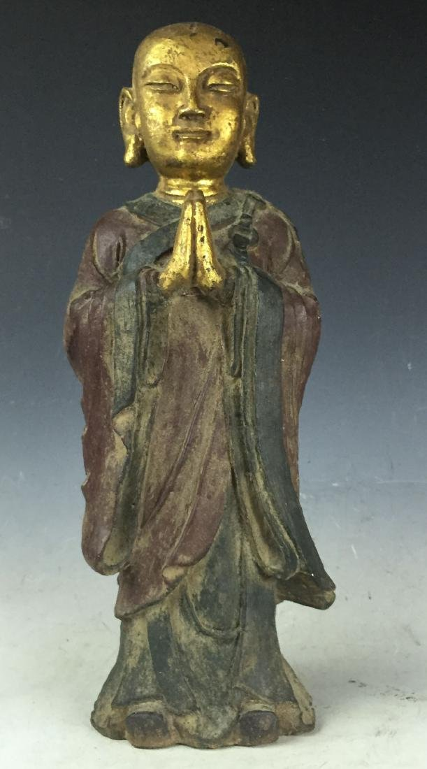 "16"" Large Carved Gilt Bronze Buddha with Lacquer"