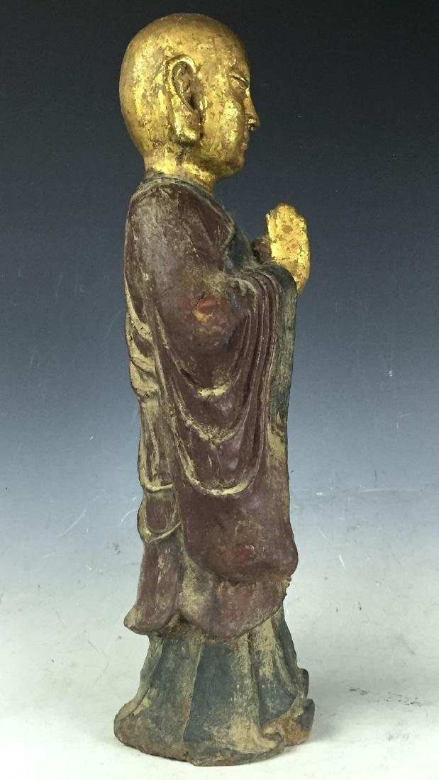 "16"" Large Carved Gilt Bronze Buddha with Lacquer - 3"