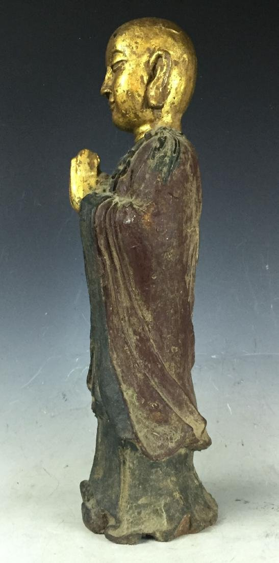 "16"" Large Carved Gilt Bronze Buddha with Lacquer - 5"