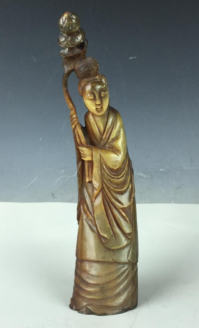 "10"" Carved Chinese Figure Deity from Horn"