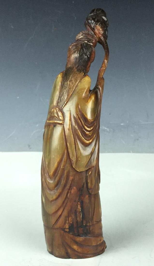 "10"" Carved Chinese Figure Deity from Horn - 2"