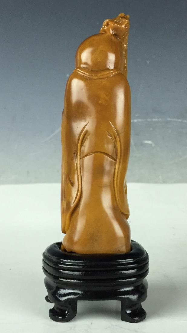 Carved Tianhuang Stone Status with Wood Stand - Chinese - 4
