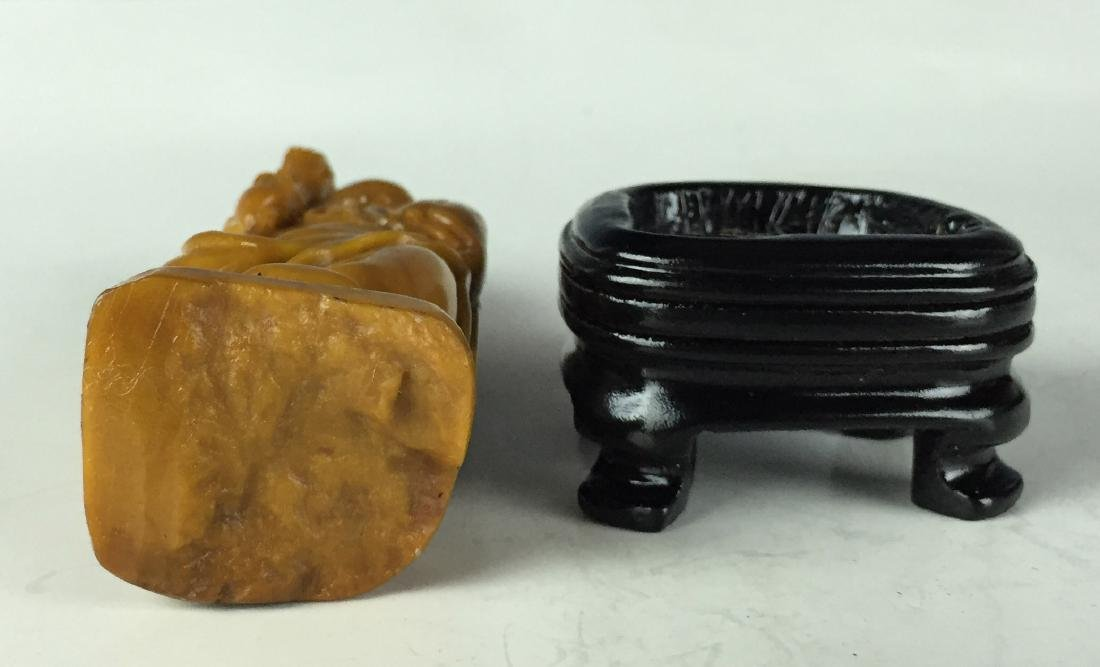 Carved Tianhuang Stone Status with Wood Stand - Chinese - 6