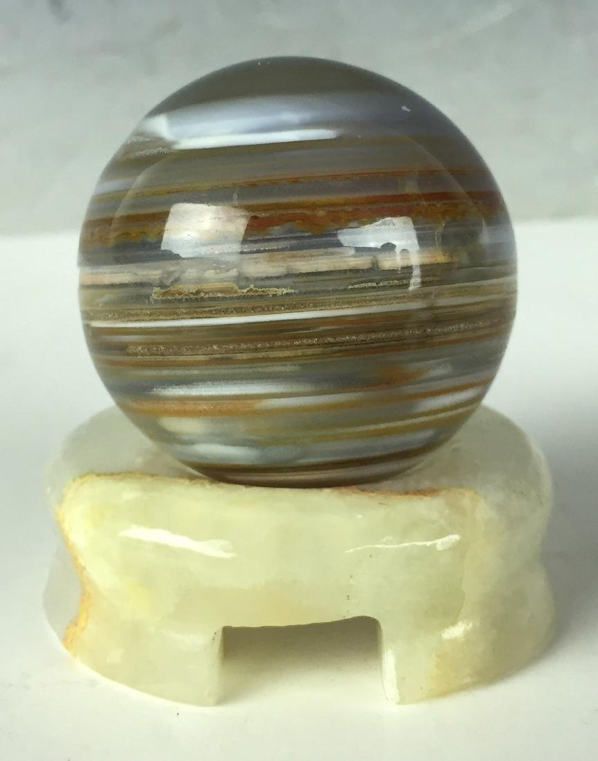 """2"""" Beautiful Agate ball with Jade Stand"""