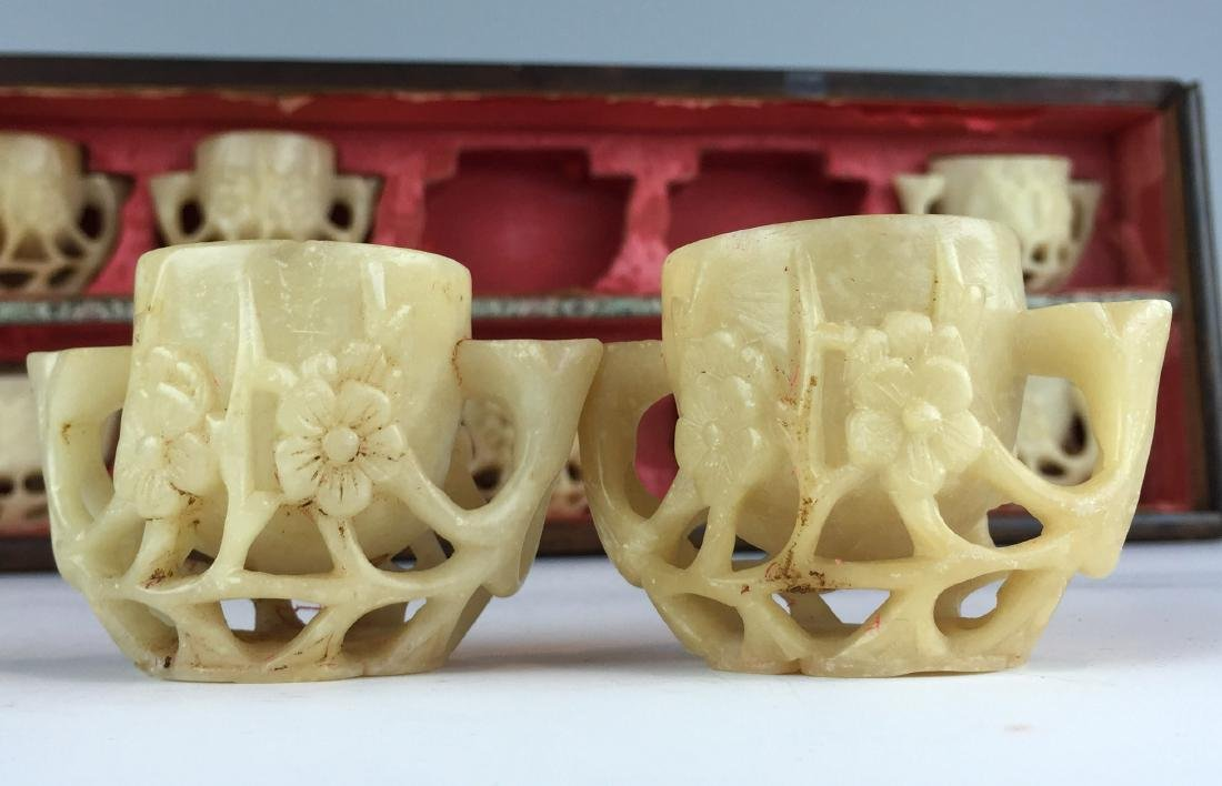 Carved Jade Tea Cup Set  - Total 10 with Wood Box - 4