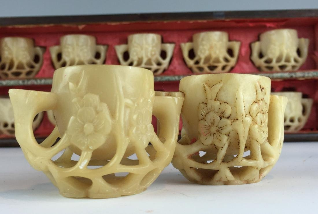 Carved Jade Tea Cup Set  - Total 10 with Wood Box - 6
